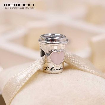 NEW Summer Drink To Go cup Charms 925 sterling silver Enamel Charm fit bead Bracelets DIY for women Memnon fine jewelry BE567