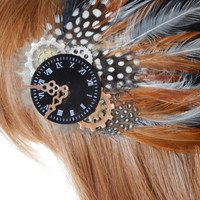 Steampunk Clockwork Feather Fascinator, Hair Clip or Hat Pin