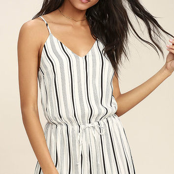 Dive In Black and White Striped Romper