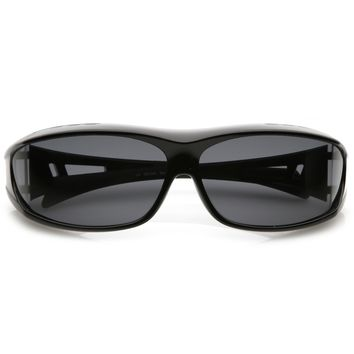Wrap Around Rectangle Goggle Sunglasses With Polarized Lens Rubberized Arm Tip 62mm