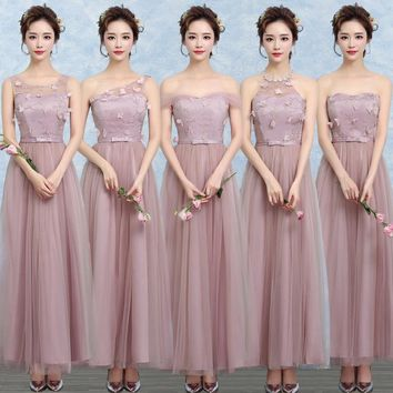 ZX-A48Z#One shoulder bridesmaid dresses new spring summer 2017 cameo brown bridesmaid dresses long bride wedding party dress