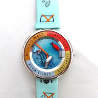 Rare MTV Wrist Watch With Tags 90s Turquoise Blue New Wave Rock Music Memorabilia