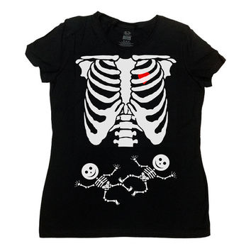 Pregnant Skeleton Shirt Twins Halloween TShirt Halloween Costume Baby Skeleton Pregnancy Funny T-Shirt Maternity Ladies Tee - SA391