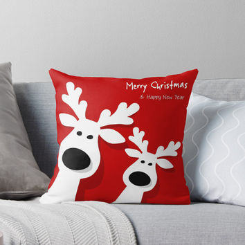 'Hollyday Happy Christmas Deer' Throw Pillow by tristancruz
