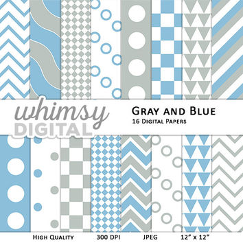 Gray and Blue Digital Paper with Stripes, Waves, Chevron, Polka Dots, Checkers, and Triangles in shades of Blue, Gray, and White