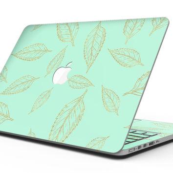 Mint and Gold Floral v11 - MacBook Pro with Retina Display Full-Coverage Skin Kit