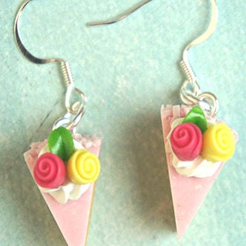 Strawberry Spring Cake Dangle Earrings