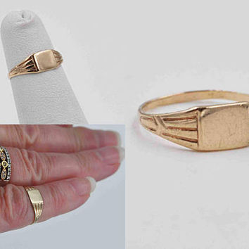 Vintage Art Deco 10K Yellow Gold Baby Signet Ring, A&Z Chain Co., Blank, Engravable, Size 2 3/4, Christening, Midi, So Sweet! #b977