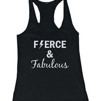 Women's Cute Black Cotton Work Out Tank Top - Fierce and Fabulous