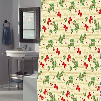 Merry Christmas Fabric Holiday Shower Curtain