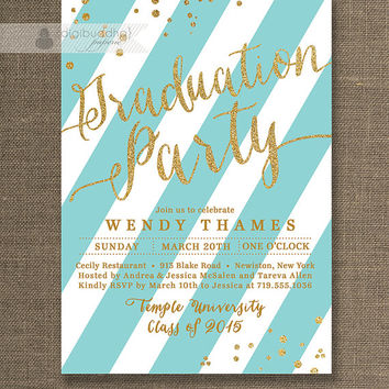 Gold & Aqua Graduation Party Invitation Gold Glitter Blue and White Stripes Modern High School College DIY Digital or Printed- Wendy Style