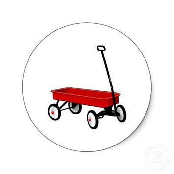 Little Red Wagon Round Sticker from Zazzle.com