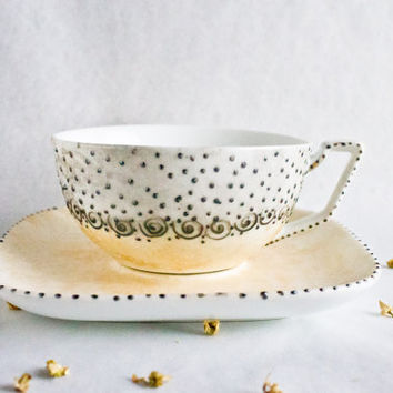 Gold retro Teacup - Hand Painted antique dotted teacup