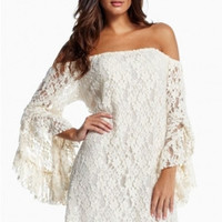 Cream Lace Off-The-Shoulder Dress