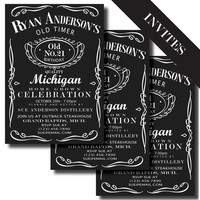 Jack Daniels Label Printable Birthday Invitation and Party Supplies