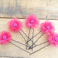 Fuchsia Flower Wedding Hair Pins, Ivory Bridal Hair Pins, Hair Accessories, Organza Hair Pins, Bridesmaid Hair, Woodland - Set of 5