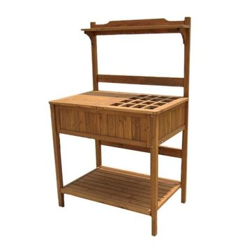 Home Garden Outdoor Wooden Potting Bench with Lattice Table Top