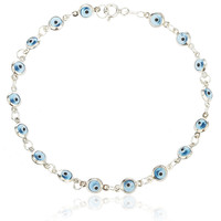 925 Sterling Silver with Aqua Blue Evil Eye Charmed 7 Inch Bracelet