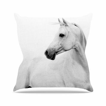 Pale Horse - White Black Animals Photography Throw Pillow