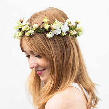Spring Blossom Flower Crown - Bridal Flower Crown, Bridal Headpiece, Floral Hair Wreath, Wedding Hair, Bridal, Spring Wedding, Ivory Flower
