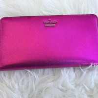 NWT Kate Spade cameron street Metallic lacey Pink Bajarose Zip Around Wallet