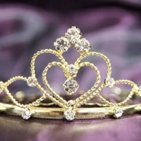 (Mini size) Beautiful Bridal Wedding Gold Tiara Crown in With Leaf Crystal Party Accessories C16055
