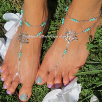 Turquoise Barefoot Sandals, Pair, Beaded, Tree of Life, Anklet Jewelry, Barefoot Sandles, Barefoot Sandal Jewelry, Body Jewelry, Anklet