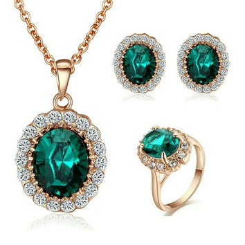 18K Rose Gold Plated Fully-jewelled Simulated Emerald Necklace Ring And Earring Jewelry Use Austrian Crystal Bridal Sets = 1947013444