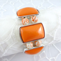 Upcycled orange & White stretch bracelet, Mottled orange stretch cuff bracelet, Bangle stretch bracelet, Vintage Beads used