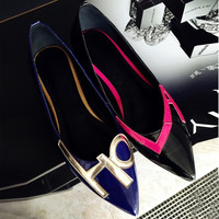 Summer Leather Pointed Toe Alphabet Casual Flat Shoes Scales [4920469444]