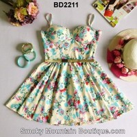Ivory Floral Multi Color Bustier Dress with Adjustable Straps Size S/M - BD2211 - Smoky Mountain Boutique