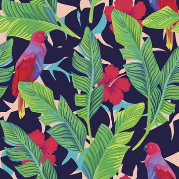 Hidden Parrots Removable Wallpaper