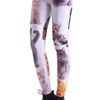 ROMWE Various Cat Faces Print Leggings