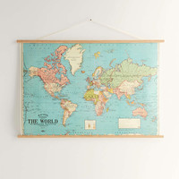 Hanging World Map Art Print And Dowels - Urban Outfitters