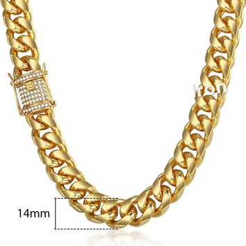 Mens Jewelry Sets Gold Miami Curb Cuban Link Chain Bracelet Necklace Set For Men Hip Hop 14mm