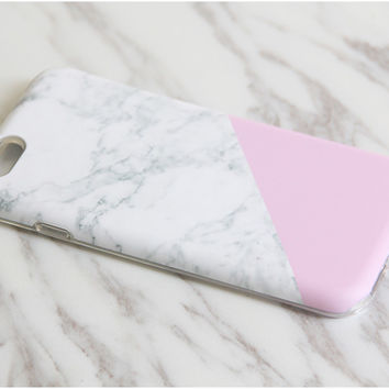 White Pink Marble Print Tough Protective iPhone XS Max Case Galaxy S8 plus S7 Edge SE Snap Case 3D M005