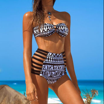 FASHION PRINTED HIGH WAIST SWIMSUIT-3