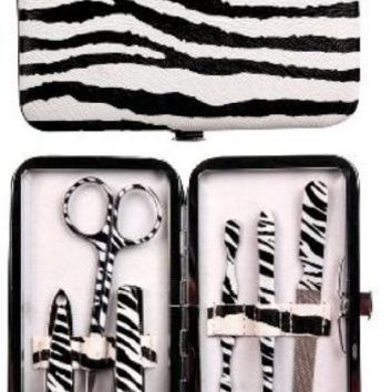 Manual Zebra Purse Sized Manicure Set