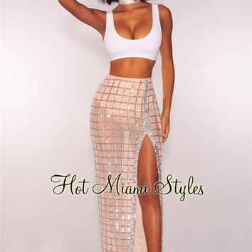 Nude Caged Silver Sequins Slit Maxi Skirt