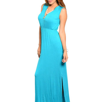Sleeveless V-Neck Empire Waist Maxi Dress