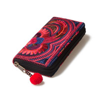 Fair Trade Bohemian Wallet for Women with Tribal Hmong Embroidered and Pom Pom Zip Pull in Red from Thailand - WA301REDB