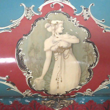 Antique Celluloid Box Victorian Lady Red Green Silk Lined in RED Hand Painted