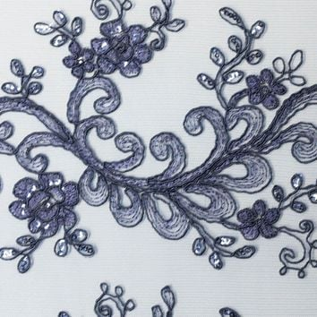 Sequin Embroidered Lace Ocean Flower Coral Reef Fabric