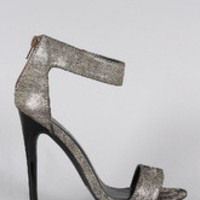 Women's Qupid Lizard Metallic Open Toe Heel