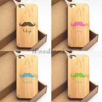 Mustache Bamboo natrual wood case for iPhone 5c iPhone 5 5s, personalized custom name, iPhone 5c 5 5s wooden case, FREE screen protector