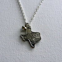 Christmas in July Sale: Silver State of Texas Charm Necklace with Heart Charm, 18 Inches