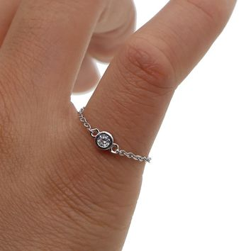 delicate thin italy chain gold silver color single cz 925 sterling silver bezel cz chain ring for girl