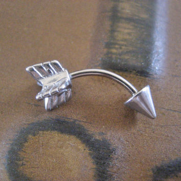Arrow Eyebrow Rook Conch Snug Helix Cuff Ear Eye Brow Piercing Belly Button Navel Bar Barbell Jewelry 16g 16 G Gauge