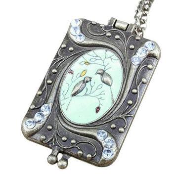 Women Flower Enamel Crystal Bird Diamante Copper Charm Chain Rhinestone Locket Gift Long Necklaces Pendants Vintage Necklace SM6