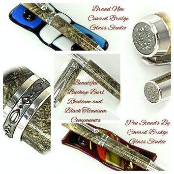 Custom Wooden Pen Fountain Pen Beautiful Buckeye Burl Rhodium and Black Titanium Hardware 791FPA